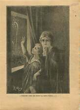 WWI Portrait Veuve Orpheline Feu d'artifice Dessin de Maury 1919 ILLUSTRATION