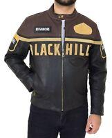 Mens Waxed Cowhide Biker Leather Zipper Jacket Multi Colour Badges Stripes Logos
