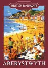 Aberystwth Vintage British Railways Poster (repro) - Seaside / landmarks A4