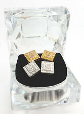 Crystal Iced Out Square Ear Stud Earrings Boxed - 2 Pairs