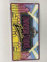 Vintage Universal Studios Florida Souvenir License Plate Metal Used