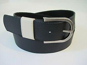 Eileen Fisher Black Pebbled Leather Belt Beige Trim Metal Buckle Size XS