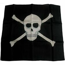 "18"" Skull & Cross Bones Production Silk Black Pirate Magic Trick Scarf Magician"
