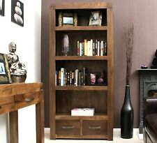 Shiro Solid Walnut Furniture Large 2 Drawer Bookcase Office Living Room CDR01A