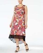 NY Collection Plus Size Printed High-Low Maxi Dress Fuschia Grand 1X