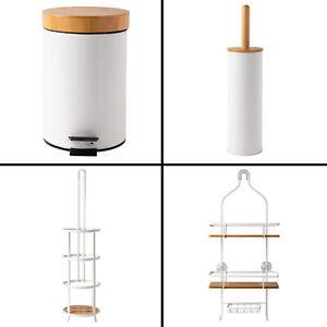 White Bamboo Bathroom Accessories Bin Toilet Brush Holder Set Bath Shower Caddy