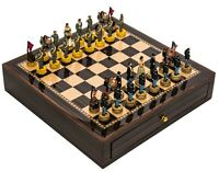 Chess Board Case Set Crafted Chessmen American Civil War & Deluxe