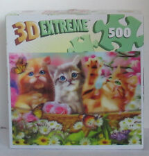 Master Pieces 500 piece 3-D 3D Extreme Jigsaw Puzzle CUDDLY KITTENS springtime