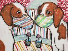 English Foxhound in Quarantine 13x19 Pop Art Print Dog Collectible Artist Ksams