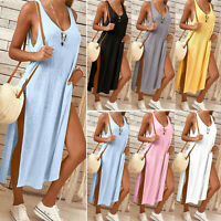 Women Long T-shirt Blouse Maxi Dress Slim Sleeveless Split Cotton Vest Tank Tops