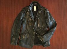 Extremely Rare DIESEL Distressed Leather Jacket Black Brown Biker Blazer Men's M