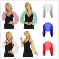 Women Long Sleeves Sheer Chiffon Cardigan Beach Shawl Shrug Bolero Jacket Tops
