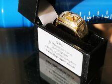 Solid Gold Diamond set Signet Ring, Hallmarked 9ct Gold  - Worldwide ship i17