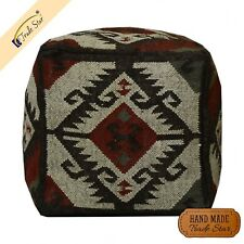"Indian Jute Wool Ottoman Pouf Cover Vintage Kilim Pouffe Case 18"" Footstool Case"