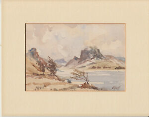 Mounted watercolour of Welsh (?) scene signed D Mostill (?)