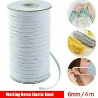 Length DIY Braided Elastic Band Cord Knit Band Sewing meters 4 White 6mm E1W2