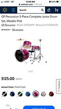 New In The Box Gp Percussion Complete Junior Drum Set Pink Three-Piece Set