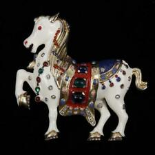 Trifari 'David Mir' circus horse figural pin brooch with enamel and cab. Lot 5
