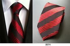 rojo y negro rizada Rayas Estampado Hecho a mano 100% Seda Corbata De Boda