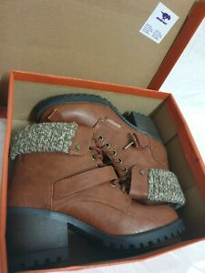 rocket dog womens brown leather boots size uk 5 / eu 38