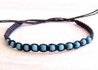 BRACELET BLACK CORD ROPE TURQUOISE BEADS ADJUST ANKLET FRIENDSHIP WRISTBAND SURF