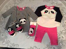 NWT GYMBOREE BABY BUDDIES PANDA PURSE DRESS PANT SET CRIB SHOE OUTFIT LOT SZ 0-3