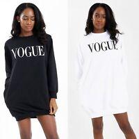 Ladies Vogue print Baggy Oversize side pockets  Loose fit Sweatshirt Tunic Dress