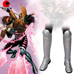 DFYM X-Men Cosplay Boots Gambit Remy LeBeau Costumed Leather Shoes Men Halloween