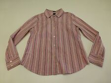 Gap Womens L Pink & Purple Classic Fit Striped Button Front Shirt Good Condition