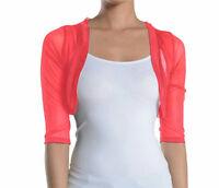 Fashion Secrets Women`s Coral 3/4 Chiffon Bolero Shrug Cropped Cardigan Jacket .