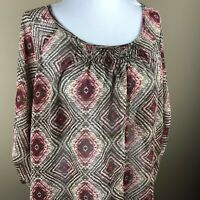 Croft & Barrow Women's 3/4 Sleeve Top Blouse Size XL Brown Pink Geometric