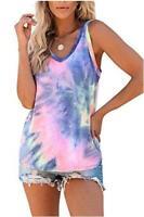 ETCYY Women's Tie-Dyed Sleeveless Workout Tank Tops Loose Fit, Dye 4, Size Small