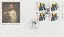 CANADA #1533 43¢ CHRISTMAS CAROLLING LR INSCRIPTION BLOCK FIRST DAY COVER