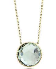 df161b0acc79 14K Oro Amarillo Piedra Preciosa Collar con Verde Amatista Solitario 40.6cm