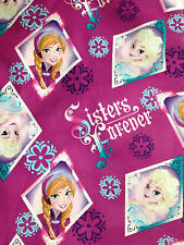 Disney Frozen Sisters Forever Floral Badge Toss Fabric - by the yard