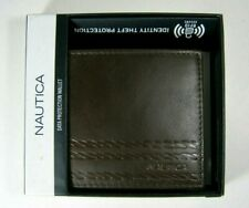 Nautica Mens Leather Wallet ID Bifold Brown 31NP220012