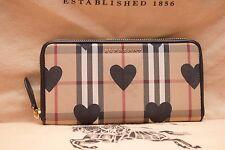 Authentic Burberry Black Heart Horseferry Check Zip Around women wallet, NEW