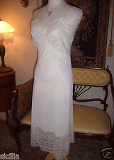 "Vtg 40s Ivory Bridal Artemis Alencon Italian Lace Full Slip 7 1/2"" Deep Lace 32"
