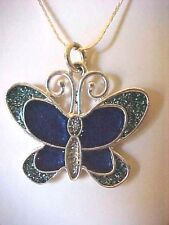 Butterfly Necklace Enamel Blue Butterfly Pendant Silver Snake Chain 24""