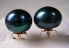 beautiful AAA 13-13.5 mm black south sea pearl earring 14K