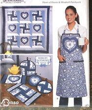 quilt block pattern wall hanging hearts apron Shirley Botsford tea cozy