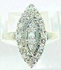 14K White Gold Vintage Prism-Lite Diamond Navette Size 4 Ring
