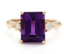 3.48 Carats Natural Amethyst and Diamond 14K Solid Yellow Gold Ring