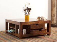 Couchtisch Wohnzimmertisch Tisch Akazie Massiv Holz 80x80cm 4 Schubladen Modern
