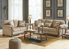 BRADFORD Traditional Wood Trim Brown Fabric Living Room Sofa Couch Loveseat Set