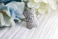 Ring in 14k White Gold Finish Vintage Neo Victorian Art Deco Diamond Engagement