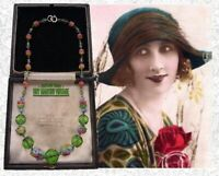 VINTAGE ART DECO CZECH SATIN FLOWER URANIUM BEADS NECKLACE COLLECTOR PRETTY GIFT