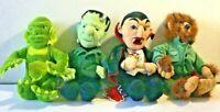 "Set 4 Universal Studios Monsters 1999 Plush Dracula Frankenstein Halloween 9"""