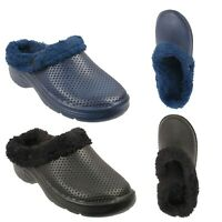 Mens Faux Fur Lined Winter Warm Garden Clogs Sandals Slip On Slipper Mules Shoes
