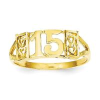 14k Solid Yellow Gold 15 Ring Size 7